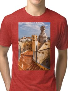 Gaudi's Fascinating Rooftop – Impressions Of Barcelona Tri-blend T-Shirt