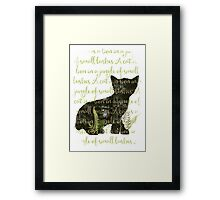A cat is a lion in a jungle of small bushes Framed Print
