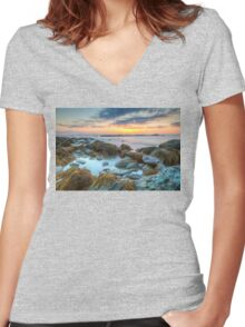 Sunrise at Sachuest Point Wildlife Refuge  Women's Fitted V-Neck T-Shirt