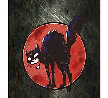 angry black cat against the world by vizavi