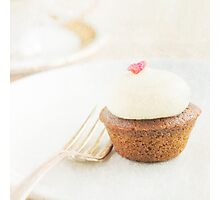 Cupcake on a plate with fork Photographic Print