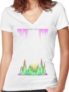 glitchy witchy  Women's Fitted V-Neck T-Shirt