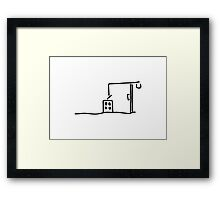 building site with crane building a house Framed Print