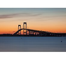 Newport Bridge Sunset, Rhode Island Photographic Print