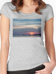 Summer Sunset Silhouette Women's Fitted Scoop T-Shirt