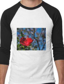 Red hibiscus flower and blue sky Men's Baseball ¾ T-Shirt