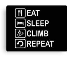 Eat Sleep Climb Repeat Cycling Funny Shirt Canvas Print