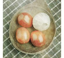 Still life of red plum tomatoes and garlic Photographic Print