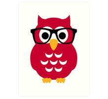 Geek nerd owl Art Print