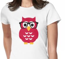 Geek nerd owl Womens Fitted T-Shirt