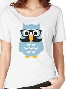 Hipster owl mustache Women's Relaxed Fit T-Shirt
