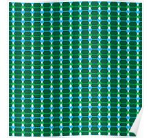 Fun Color Pattern: Green, Blue, White Poster