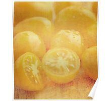 Still life of yellow plum tomatoes Poster