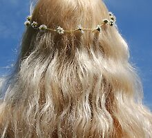 Cute Blonde Girl Hippy Chick Hair Daisy Chain by HotHibiscus