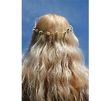 Cute Blonde Girl Hippy Chick Hair Daisy Chain Photographic Print
