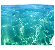 Island Ocean Turquoise Blue Aqua Water Ripples Poster