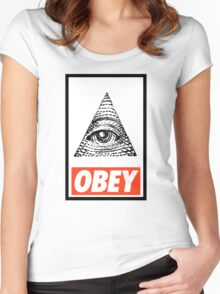 Obey the Illuminati Women's Fitted Scoop T-Shirt
