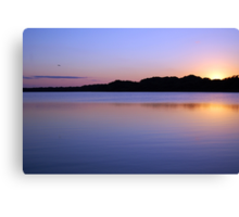 Purple Reflections of Wilderness River Belize Jungle Sunset Canvas Print