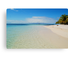 Aqua Waters Lap the Deserted Tropical Belize Island White Sand Beach Canvas Print