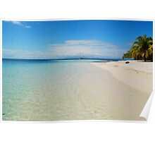 Aqua Waters Lap the Deserted Tropical Belize Island White Sand Beach Poster