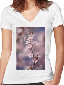 Pink Apple Blossom Women's Fitted V-Neck T-Shirt