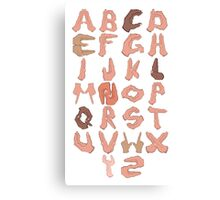 Alphabet with Hands Canvas Print