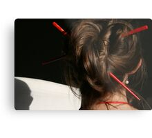 Red Chop Sticks and Pearls Metal Print