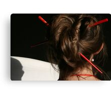 Red Chop Sticks and Pearls Canvas Print
