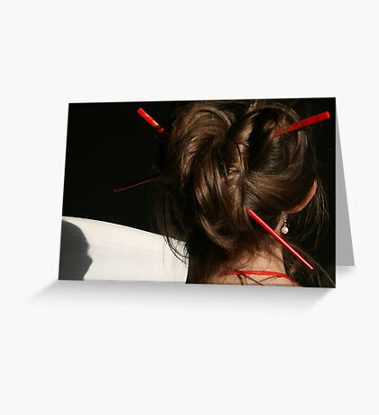 Red Chop Sticks and Pearls Greeting Card