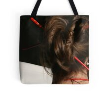 Red Chop Sticks and Pearls Tote Bag