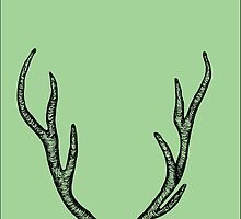 Green 7 point Antlers by OwlDesignsNY