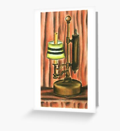 Antique lamp in colour Greeting Card
