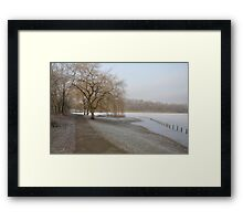 Weeping Willow Over Frozen Lake Framed Print