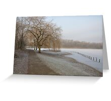Weeping Willow Over Frozen Lake Greeting Card
