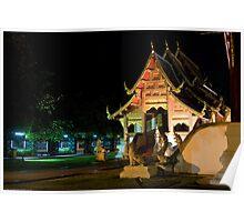 Wat Phra Singh at night Poster