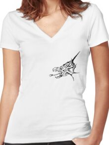 Dragon Head Women's Fitted V-Neck T-Shirt
