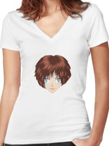 Anime brunette girl Women's Fitted V-Neck T-Shirt