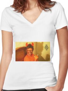 Gonna fucc the devil Women's Fitted V-Neck T-Shirt