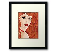 Curly red haired girl Framed Print