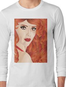 Curly red haired girl Long Sleeve T-Shirt