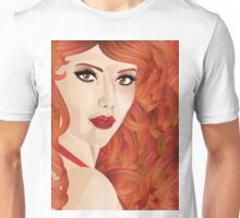 Curly red haired girl Unisex T-Shirt
