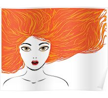 Girl with red hair Poster