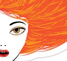 Girl with red hair Sticker