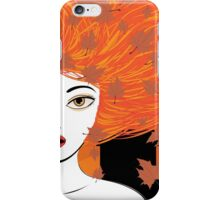 Autumn girl with red hair iPhone Case/Skin
