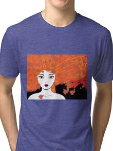Autumn girl with red hair Tri-blend T-Shirt