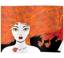 Autumn girl with red hair Poster