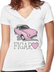 Nissan Figaro - Pink Women's Fitted V-Neck T-Shirt