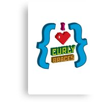 I Heart Curly Braces Canvas Print