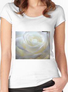 Close up of white rose 10 Women's Fitted Scoop T-Shirt