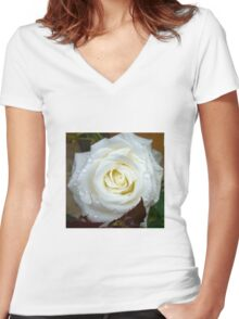 Close up of white rose 12 Women's Fitted V-Neck T-Shirt